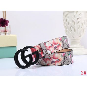GUCCI New Popular Woman Men Casual Black Smooth Buckle Flower Print Belt Leather Belt 2# I-MYJSY-BB
