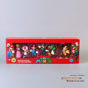 Free Shipping Super Mario Bros Peach Toad Mario Luigi Yoshi Donkey Kong PVC Action Figure Toys Dolls 6pcs set New in Box SMFG218