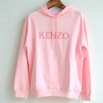 KENZO Tiger Head Embroidery Pure Cotton Loose Clothes Female Powder top hoodie