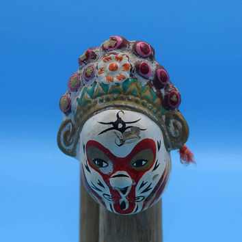 Miniature Chinese Opera Mask Vintage Beijing Clay Mask Mini Ceramic Painted Mask Types of Facial Makeup Theatre Theater Opera Gift for Her