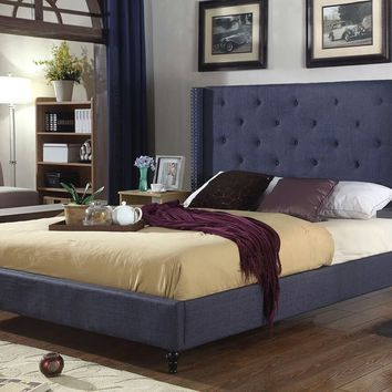 "New Century® Blue Upholstered 51"" Inches Tall Headboard Platform Bed"