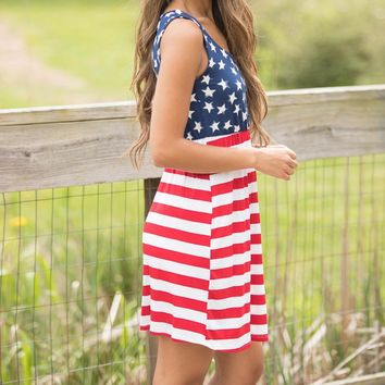 Hot American Flag  Womens Summer Dress