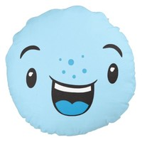 Blue Smiling Kawaii Face Round Pillow