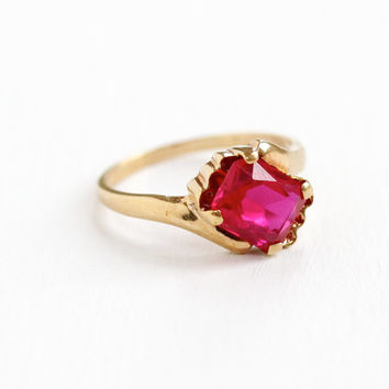 Vintage 10k Rose Gold Created Ruby Ring- Size 5 1/2 1940s 1950s Rectangular Cut Pink Red Stone Asymmetrical Fine Jewelry