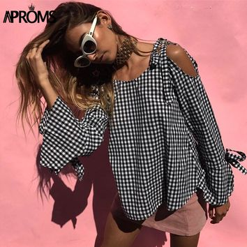 Aproms Sexy Off Shoulder Plaid Blouse Women Bow Tie Long Sleeve Casual Shirt Autumn Elegant Streetwear Female Top Blusas 40819