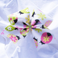 Cheer bow- Cream with ladybugs bow-Cheerleader bow- Cheerleading bow- dance bow- softball bow- cheerbow
