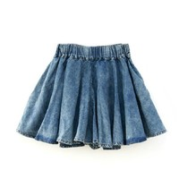 Washed Denim Culottes Short with Elastic Waist