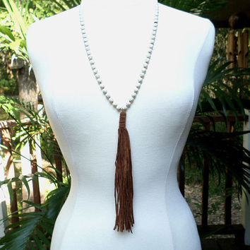 Ivory Long Strand Howlite Beaded Brown Suede Leather Tassel Drop Long Necklace, gift