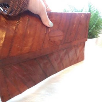 Vintage ELL Skin Clutch ~ Oxblood Brown ~ Large Envelope Clutch