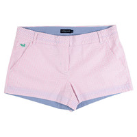 The Brighton Seersucker Chino Short in Pink Stripe by Southern Marsh