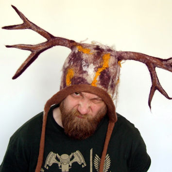 LARP Cosplay Horns Headdress Deer Antlers Hat - Druid Shaman Tribal Costume Hat