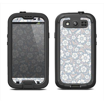 The Subtle White and Blue Floral Laced V32 Samsung Galaxy S4 LifeProof Nuud Case Skin Set