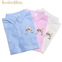 Spring Autumn Women Blouse Cats Embroidery Long Sleeve Work Shirts Women office Tops White shirts for business
