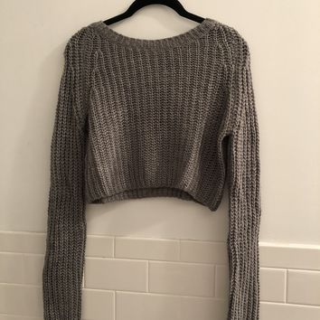 Urban Outfitters Grey Cropped Sweater