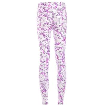 Unicorn Pegasus White Horse Digital Print Comfy Stretch Leggings for Women