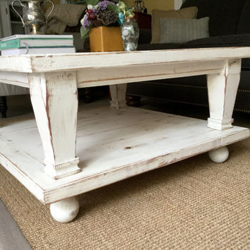 Square Coffee Table - Handmade Furniture - Living Room - Wood - Wooden - Beach Home Decor - Cottage - 32 x 32 x 17 tall