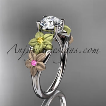 14kt tri color gold floral unique engagement ring, wedding ring ADLR169