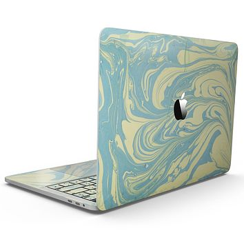 Marbleized Swirling Mint and Yellow - MacBook Pro with Touch Bar Skin Kit