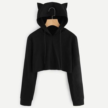 Feitong Harajuku Women Hoodies Sweatshirt Cat Ear Long Sleeve Black Solid Short Sweatshirt Pullover Tops sudadera mujer 2018