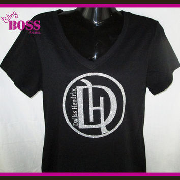 Ladies Shirt Custom Bling Glitter Made with your Wording Sparkle Team Custom Design your own Colors, Sports Team Name Birthday Personalized