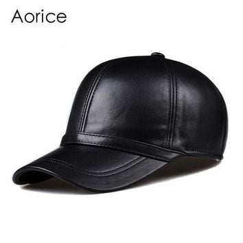 CREYET7 HL091  genuine leather man's baseball cap hat CBD high quality  men's real leather adult solid adjustable hats caps