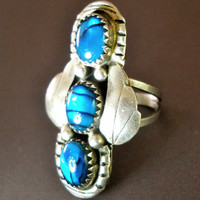 Sterling Silver Ring Blue Art Glass Vintage Southwest Signed sz 7