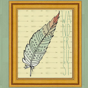 Wanderlust tribal feather arrows digital printable art, trendy lodge urban chic instant download, green and gold, wall decor, digital art