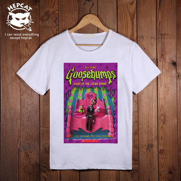 Goosebumps Tshirt, Night of Living Dummy Mens T-Shirt, Screenprint Custom Tees, Personalized Image Top Tee shirt, Unisex Size S M L XL XXL