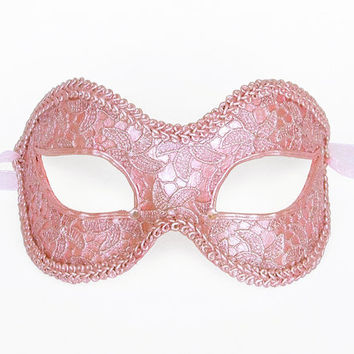 Pink Masquerade Mask Covered With Lace - Venetian Style New Year's Masquerade Ball Mask