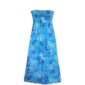 Aurora Blue Maxi Hawaiian Dress