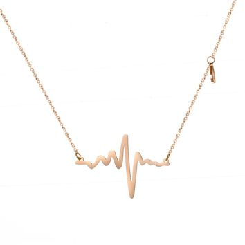 LINSOIR 2017 Love Rose Gold Color ECG Medical Stethoscope Heartbeat Necklace Women Stainless Steel Love Heart Choker Necklaces