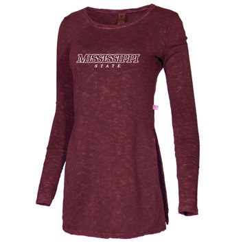 Official NCAA Mississippi State University Bulldogs HAIL STATE BULLY Women's Fleece Crewneck Sweatshirt With Slits