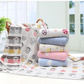 Muslin Bear swaddle Newborn Bath Towel Multi-use Cotton Jacquard 6 layers baby gauze Blanket Infant Wrap Thick 110X105cm 450G