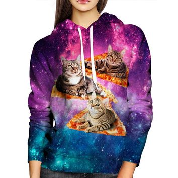 Space, Cats, & Pizza Womens Hoodie