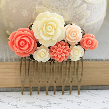 Coral Bridal Hair Comb Peach Rose Ivory Cream Rose Floral Collage Flower Hair Accessories Bridesmaids Gifts Wedding Jewelry Flowers for Hair