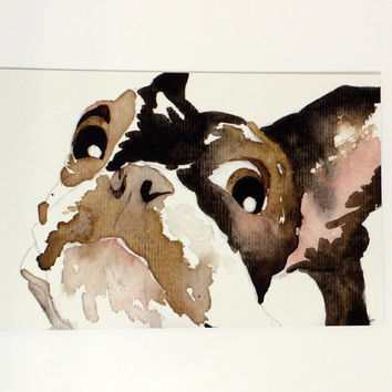 Cute Surprised Painted Dog Postcards Pack of 10 - Ten Watercolor Dog Postcard Prints - Printed Boston Terrier Painting pack of 10 Postcards