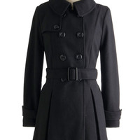 ModCloth Mod Long Long Sleeve Double Breasted Inkwell Done Coat