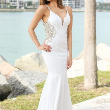 Off White Maxi Dress with Jeweled Detail