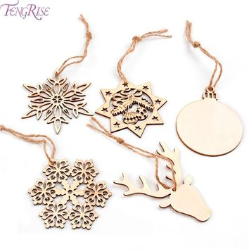 FENGRISE 10pcs Christmas Tree Ornaments Snowflake Deer Star Bell DIY Wooden Pendants Christmas Party Decoration New Year Gift