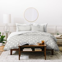 Bianca Green Geometric Confetti Grey Duvet Cover