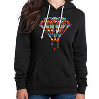 Tribal Diamond Print on Premium Black Hoodie