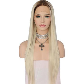 Nayeli- Ombre High Temperature Fiber Glueless Brown Roots To Light Blond Heat Resistant Synthetic Front Lace Wig