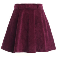 ROMWE | ROMWE Belted Pleated Claret-red Velvet Skirt, The Latest Street Fashion