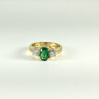 Multistone Ring, Emerald, Cubic Zirconia CZ ,Gold Tone, Prom, Homecoming, Cocktail Ring, Costume Vintage Jewelry, Regency, High Fashion