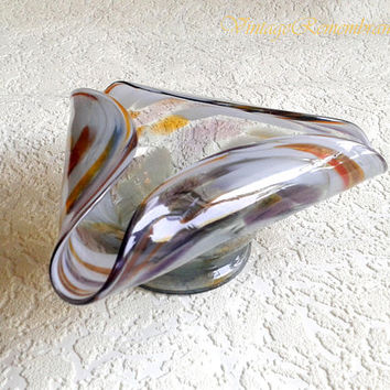 Ashtray Folded Glass Murano style Vintage Soviet Antique Elegant Gift for Smoker Nicotian Men Rare made in USSR 1960s