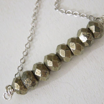 Pyrite Rondelle Stick Necklace - Natural Fool's Gold Beaded Pendant Necklace Silver Chain