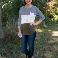Beyond The Stripe Top - Olive