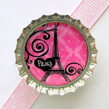 Eiffel Tower Pink Paris Damask Bottle Cap Magnet - eiffel tower decor, french country home, paris theme party favors, paris wedding favors