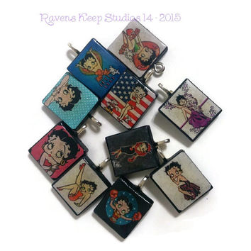 CLEARANCE! Assorted Betty Boop Pendant, Scrabble Tile Pendants, Scrabble Tile Jewelry, Scrabble Charms