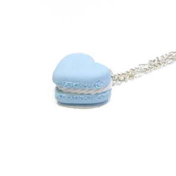 Pastel Light Blue Handmade Cute Miniature Sweet Heart Macaroon . Kawaii Macaron . Polymer Clay Jewelry . Fairy Kei . Lolita Jewellery